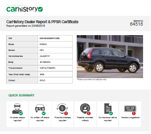 Sample Car History Certificate