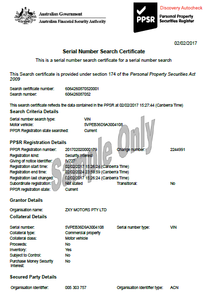 Sample PPSR Motorcycle Certificate Showing an Encumbrance