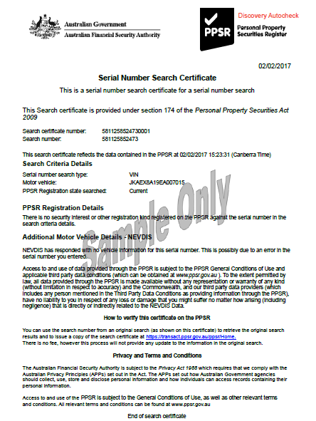 Sample PPSR Motorcycle Certificate with No NEVDIS Data