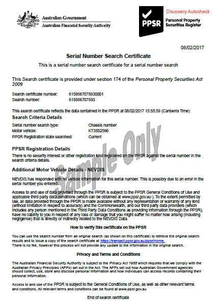 Sample PPSR Trailer Certificate with No NEVDIS Data
