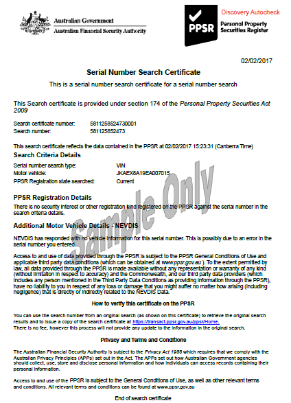 Sample PPSR Certificate with an Encumbrance
